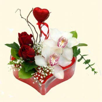 Kars ucuz çiçek gönder  1 kandil orkide 5 adet kirmizi gül mika kalp