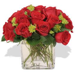 Kars anneler günü çiçek yolla  10 adet kirmizi gül ve cam yada mika vazo