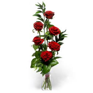 Kars güvenli kaliteli hızlı çiçek  cam yada mika vazo içerisinde 6 adet kirmizi gül