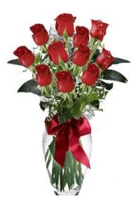 11 adet kirmizi gül vazo mika vazo içinde  Kars çiçek satışı