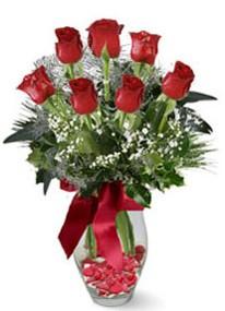 Kars çiçek yolla , çiçek gönder , çiçekçi   7 adet kirmizi gül cam vazo yada mika vazoda