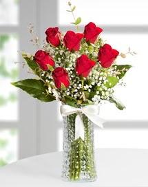 Cam vazoda 7 adet kırmızı gül  Kars çiçek online çiçek siparişi
