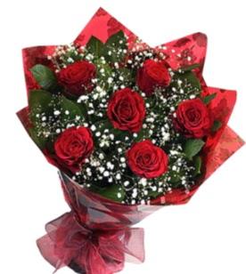 6 adet kırmızı gülden buket  Kars internetten çiçek siparişi