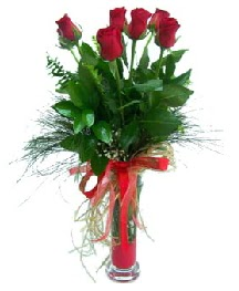 vazo içerisinde 5 kırmızı gül  Kars çiçekçiler