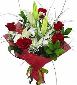 1 dal kazablanka 5 kırmızı gül buketi  Kars internetten çiçek satışı