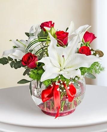 Fanus Vazoda 2 Lilyum ve 5 Gül Dansı  Kars 14 şubat sevgililer günü çiçek