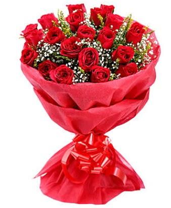 21 adet kırmızı gülden modern buket  Kars 14 şubat sevgililer günü çiçek