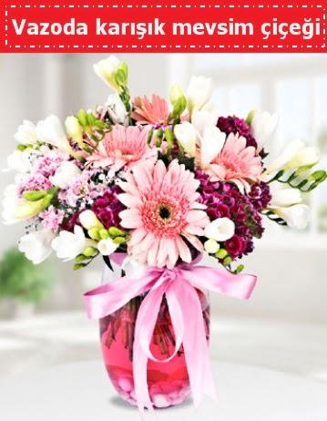 Vazoda karışık mevsim çiçeği  Kars çiçek online çiçek siparişi