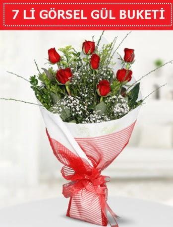 7 adet kırmızı gül buketi Aşk budur  Kars hediye sevgilime hediye çiçek
