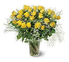 Kars güvenli kaliteli hızlı çiçek  15 adet sarigül mika yada cam vazoda