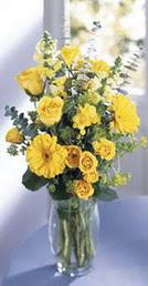Kars çiçek gönderme sitemiz güvenlidir  sari güller ve gerbera cam yada mika vazo