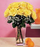 Kars yurtiçi ve yurtdışı çiçek siparişi  9 adet sari güllerden cam yada mika vazo