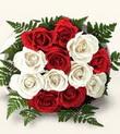 Kars çiçek online çiçek siparişi  10 adet kirmizi beyaz güller - anneler günü için ideal seçimdir -