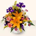 Kars çiçek satışı  sepet içinde karisik çiçekler