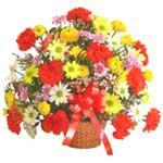 karisik renkli çiçek sepet   Kars cicekciler , cicek siparisi