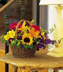 Kars çiçek gönderme  karisik sepet içinde mevsimsel çiçekler