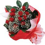Kars yurtiçi ve yurtdışı çiçek siparişi  KIRMIZI AMBALAJ BUKETINDE 12 ADET GÜL