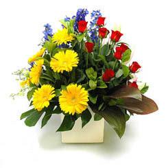 Kars çiçek gönderme sitemiz güvenlidir  9 adet gül ve kir çiçekleri cam yada mika vazoda