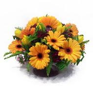 gerbera ve kir çiçek masa aranjmani  Kars İnternetten çiçek siparişi