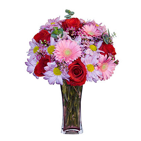 Görsel hediye karisik cam mevsim demeti  Kars kaliteli taze ve ucuz çiçekler