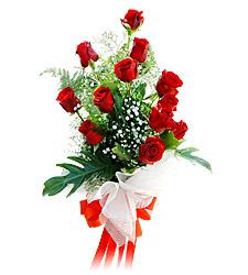 11 adet kirmizi güllerden görsel sölen buket  Kars İnternetten çiçek siparişi