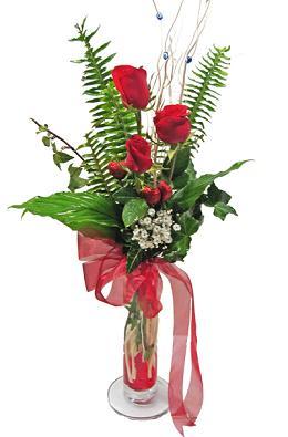 Çiçek gönderin cam vazoda 3 gül çiçekleri  Kars güvenli kaliteli hızlı çiçek
