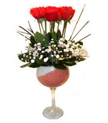 Kars online çiçekçi , çiçek siparişi  cam kadeh içinde 7 adet kirmizi gül çiçek