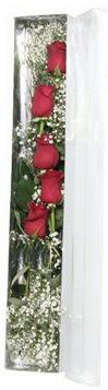 Kars güvenli kaliteli hızlı çiçek   5 adet gülden kutu güller