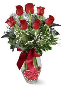 7 adet vazoda gül  Kars yurtiçi ve yurtdışı çiçek siparişi  kirmizi gül