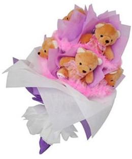 9 adet ayiciktan buket  Kars ucuz çiçek gönder