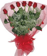 7 adet kipkirmizi gülden görsel buket  Kars çiçek siparişi sitesi
