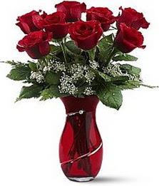 Vazo içinde 8 adet kirmizilar içinde güller  Kars çiçek yolla , çiçek gönder , çiçekçi