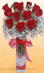 10 adet kirmizi gülden vazo tanzimi  Kars güvenli kaliteli hızlı çiçek