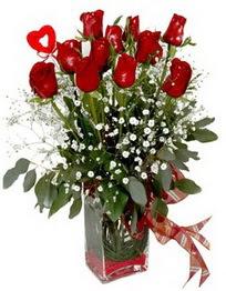 Kars İnternetten çiçek siparişi  9 adet mika yada cam vazoda gül tanzimi kalp çubuk