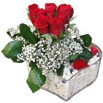 Kars çiçekçiler  kalp mika içerisinde 7 adet kirmizi gül