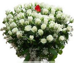 Kars yurtiçi ve yurtdışı çiçek siparişi  100 adet beyaz 1 adet kirmizi gül buketi