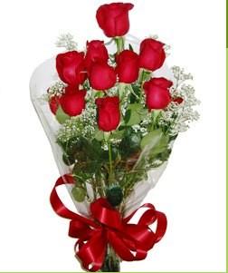 Kars çiçekçi telefonları  10 adet kırmızı gülden görsel buket