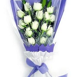 Kars kaliteli taze ve ucuz çiçekler  11 adet beyaz gül buket modeli