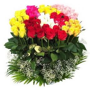 Kars çiçek siparişi sitesi  51 adet renkli güllerden aranjman tanzimi