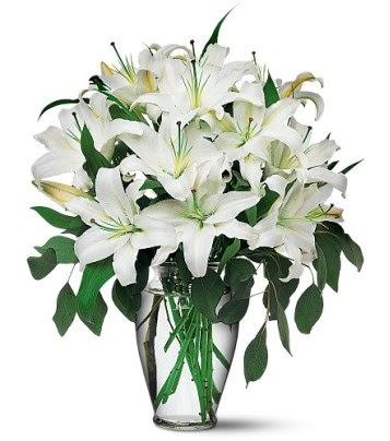Kars yurtiçi ve yurtdışı çiçek siparişi  4 dal kazablanka ile görsel vazo tanzimi