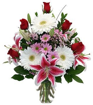 Kars çiçek siparişi sitesi  1 dal kazablanka 5 gül ve kırçiçeği vazosu