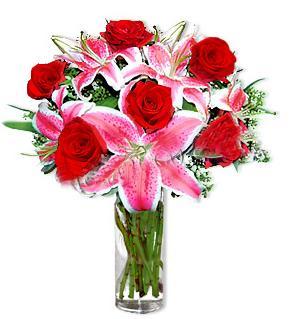 Kars uluslararası çiçek gönderme  1 dal cazablanca ve 6 kırmızı gül çiçeği
