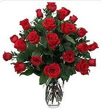 Kars güvenli kaliteli hızlı çiçek  24 adet kırmızı gülden vazo tanzimi