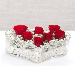 kalp içerisinde 7 adet kırmızı gül  Kars İnternetten çiçek siparişi