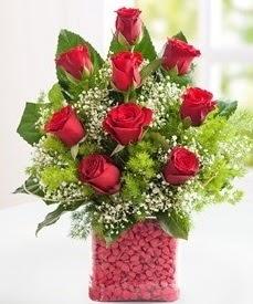 Cam içerisinde 9 adet kırmızı gül  Kars yurtiçi ve yurtdışı çiçek siparişi