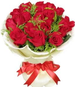 19 adet kırmızı gülden buket tanzimi  Kars çiçekçi mağazası