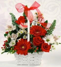 Karışık rengarenk mevsim çiçek sepeti  Kars çiçek yolla , çiçek gönder , çiçekçi