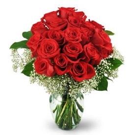 25 adet kırmızı gül cam vazoda  Kars çiçek online çiçek siparişi
