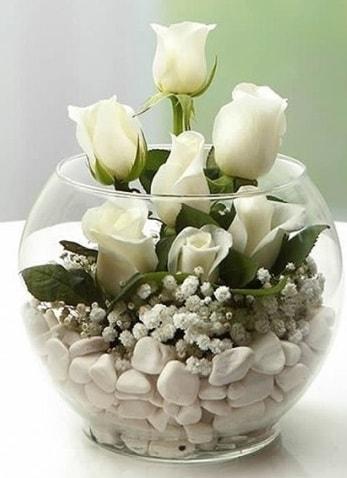 Beyaz Mutluluk 9 beyaz gül fanusta  Kars güvenli kaliteli hızlı çiçek