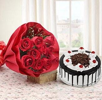 12 adet kırmızı gül 4 kişilik yaş pasta  Kars çiçek online çiçek siparişi